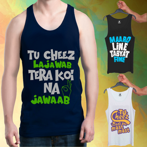 Cheez Lajawab Blue, Maro Line Black, Cheez Mast White : 3 In 1 Combo Of Tank Tops