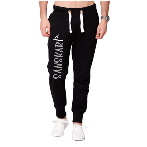 Sanskari:  Summer Slim Fit Men's Fleece (Black) Joggers - Badtamees