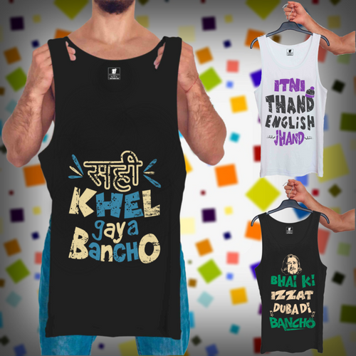 Sahi Khel Gaya Black, Itni Thand White, Bhai Ki Izzat Black : 3 In 1 Combo Of Tank Tops