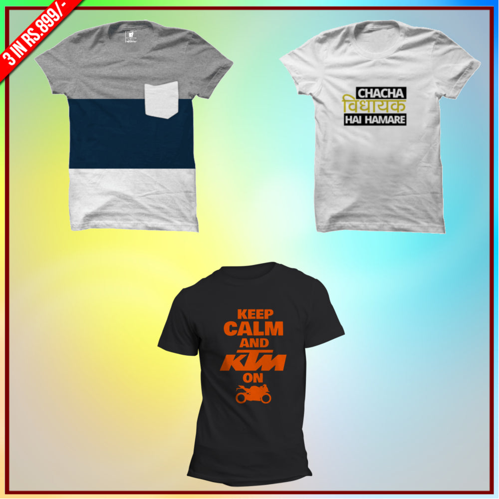 Bikers 3 Tee Combo: Wear affair Tee, Chacha vidhayak White Tee, KTM Keep calm Half