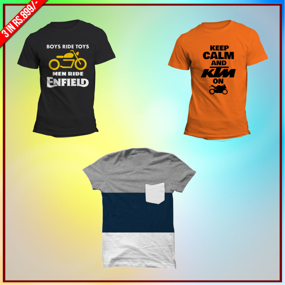 Bikers 3 Tee Combo: Boys ride Toys, Keep calm KTM, Wear affair Half Tees