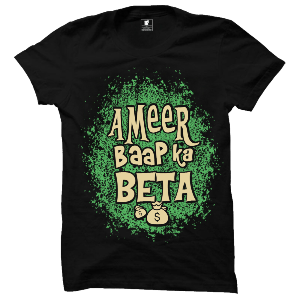 Ameer baap ka Beta Black Premium Half Sleeves T-Shirt