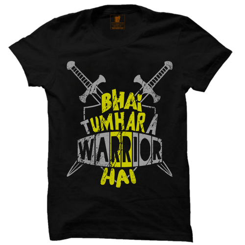 Bhai Tumara Warrior Hai Premium Black Half Sleeve T-Shirt