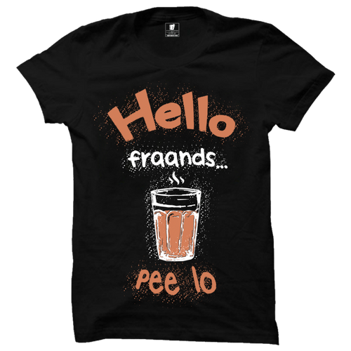 Hello Friends Chai peelo Black Premium Half Sleeves T-Shirt