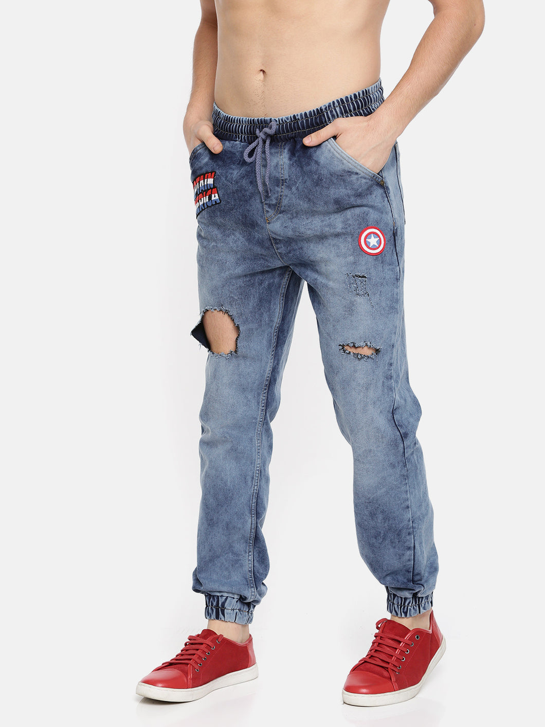 Men Blue Mid-Rise Highly Distressed Jogger Jeans PRICE : Rs.899 | Book For Rs.31 Only