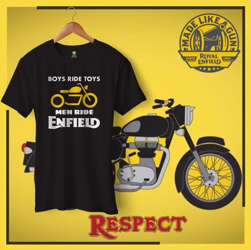 Boys Ride Toys Enfield Official Black Half Sleeve T-Shirt