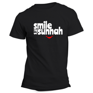 Smile its Sunnah Black Half Sleeve T-Shirt - Badtamees