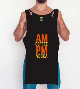 AM coffee PM vodka Funny Tank Vest Black - Badtamees