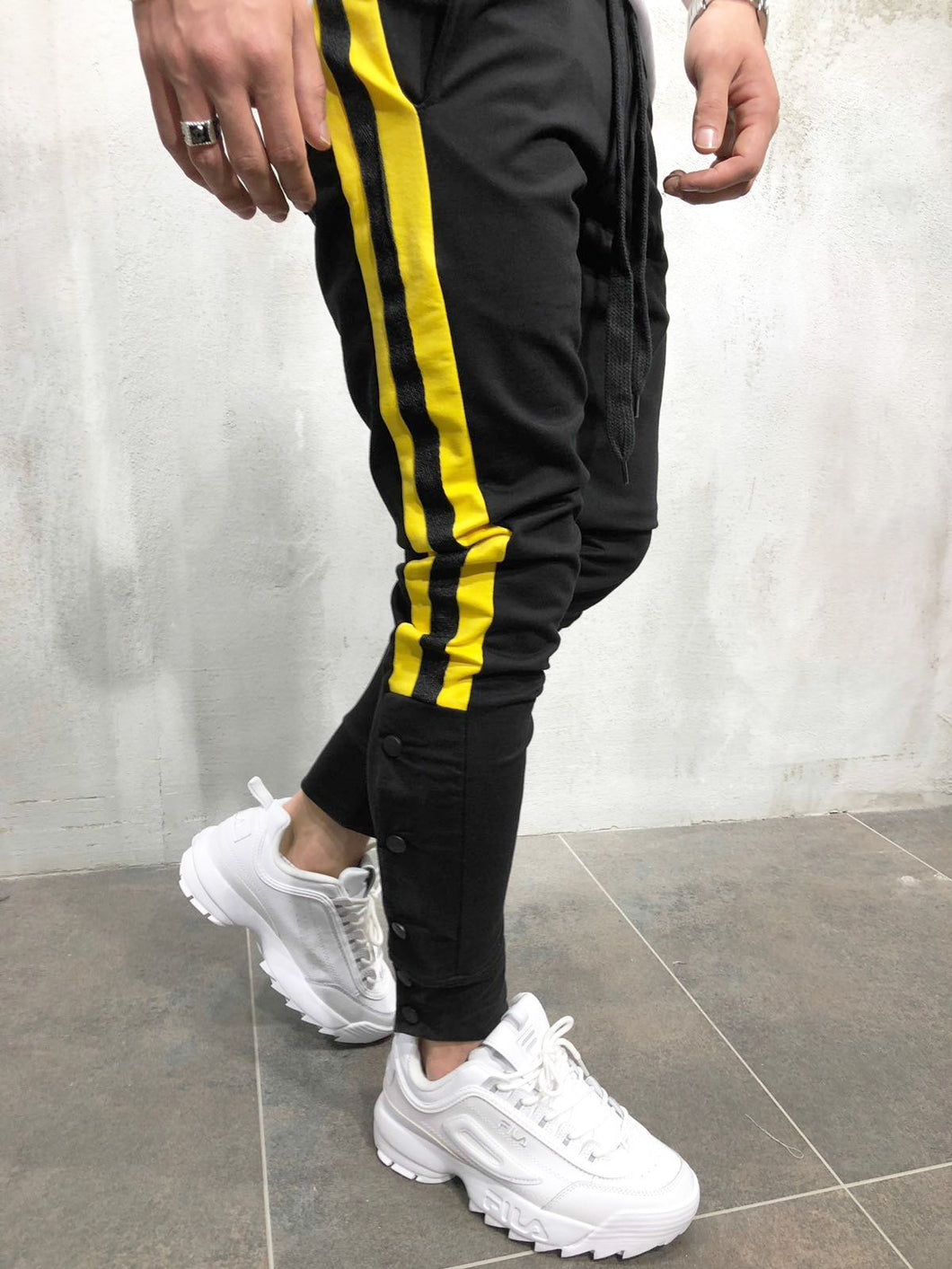 Black With Yellow Strips Buttoned Panel Slim Fit Jogger