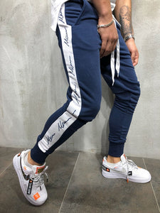 Latest Trend Navy Blue Joggers with White Strips_Fashion Sale