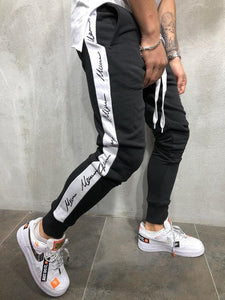 Latest Trend Black Joggers with white strips
