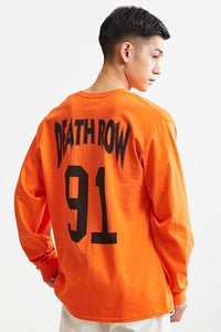 Special sale_Death Row_Buy Modish fashioned Death Row '91 Long Designer sleeve Orange tee with back print below Rs. 700