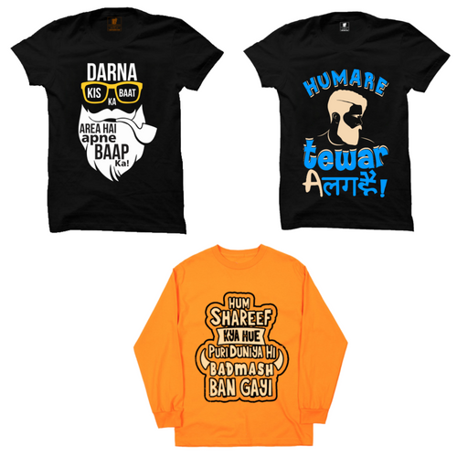 3 T-Shirts Combo : Darna baat ka Black, Hamare tevar Black, Hum Shareef (Full) Orange