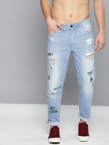 Men Blue Carrot Regular Mid-Rise Mildly Distressed Stretchable Jeans PRICE : Rs.999 | Book For Rs.31 Only