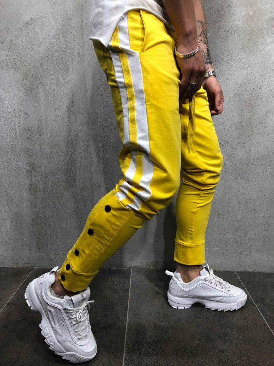 Yellow With White Strips Slim Fit Jogger