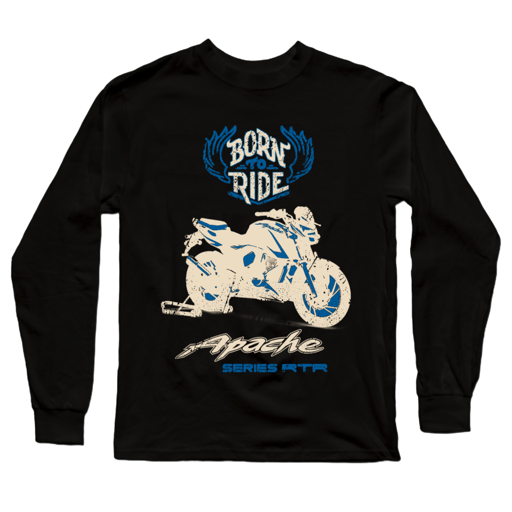 Apache RTR Born to Ride Official Black Full Sleeve Premium T-Shirt