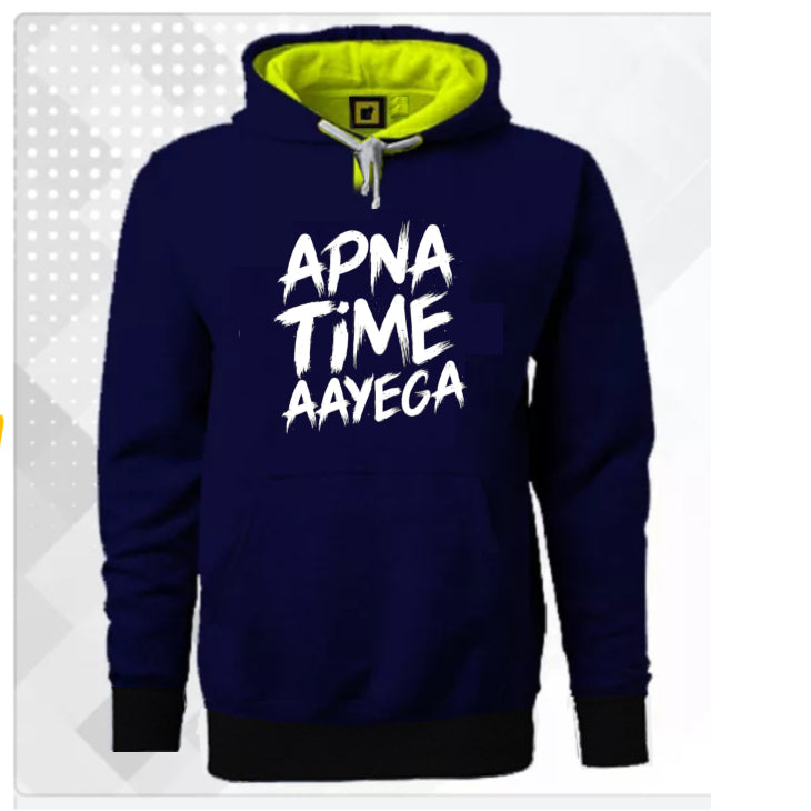 Apna Time Ayega Super Comfortable Navy Blue Hoodie