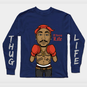 Long Sleeves Navy Blue Thug Life T-Shirt