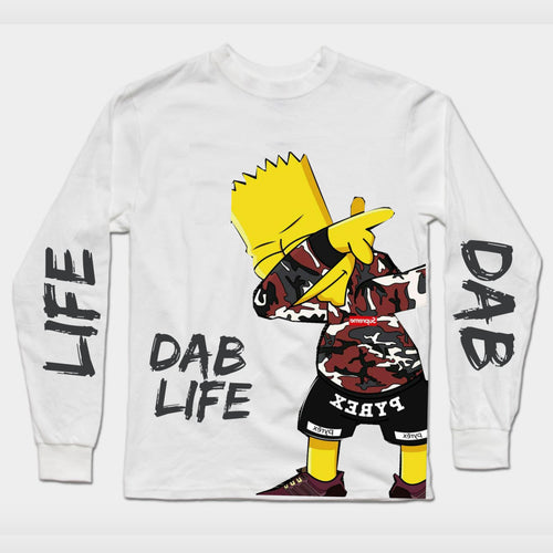 Long Sleeve white Simpson Dab T-Shirt