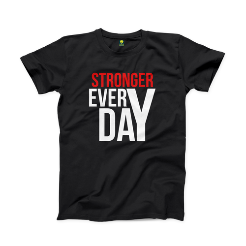 Stronger Every Day Gym Half Sleeve T-Shirt - Badtamees