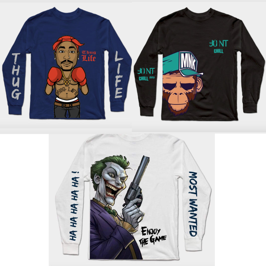 Combo Of 3 T-Shirts : Thug Life Navy Blue, Black Monkey & Joker In White