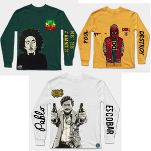 Combo Of 3 T-Shirts : Bob Marley Green, Yellow Dopepool, White Escobaar