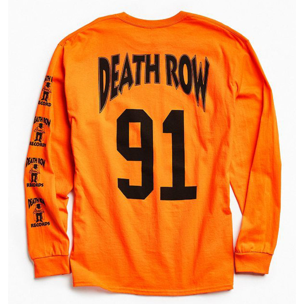 Buy Modish fashioned Death Row '91 Long Designer sleeve Orange tee with back print below Rs. 700