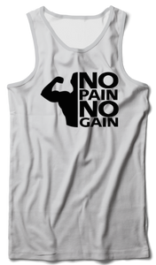 No Pain no gain Tank Vest White - Badtamees