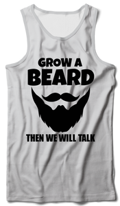 Grow a Beard Tank Vest White - Badtamees