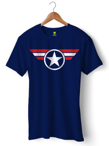 Captain America Official Dark Blue Half Sleeve T-Shirt - Badtamees