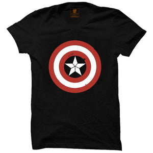 Captain America Black Half Premium Sleeve T-Shirt (Glow in Dark) - Badtamees