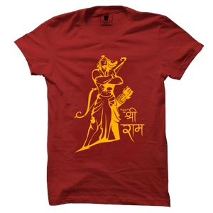 Jai Shree Ram Red Powerful Warrior T-Shirt - Badtamees