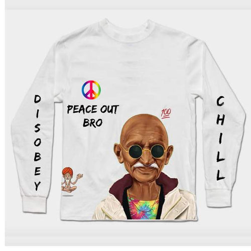 Chiller Bapu_ Peace out Premium Digital Fashion White tee_Fashion sale
