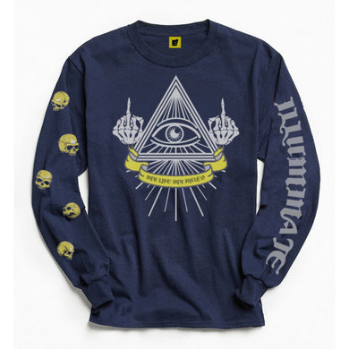 Illuminate_Rules Long Sleeve Premium Designer Rich Navy Blue Tee at best price ever
