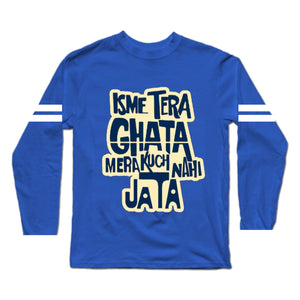 Isme Tera Ghata Royal Blue Premium Long Sleeves T-Shirt Sports Trim