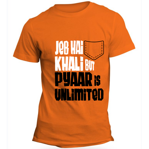 Jeb Khali Pyar Unlimited Orange Half Sleeve T-Shirt