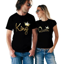 King Queen Couple Gold black Tshirt Combo - Badtamees