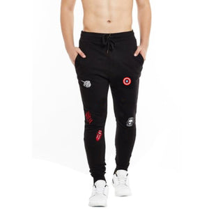 Wear Affair Patched Distressed Premium Joggers Black