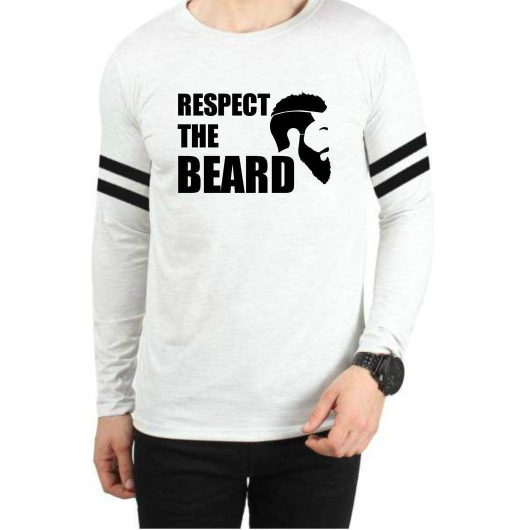 Respect the beard Sports trim White T-Shirt - Badtamees