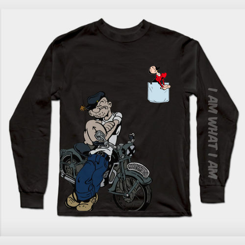 Long Sleeves Black Popeye T-Shirt