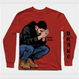 Special Sale_ Long Sleeves Red Drake God's Plan T-Shirt