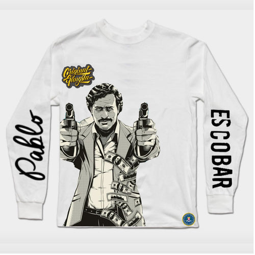 Pablo Escobar Long Sleeves White T-SHIRT