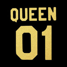 King 01 Queen 01 black Gold Tshirt Combo - Badtamees