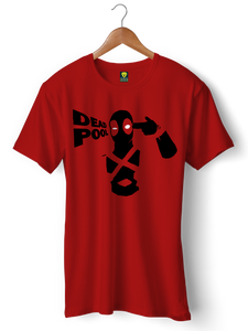 Deadpool Official Red Half Sleeve T-Shirt - Badtamees