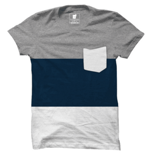 Wear Affair Navy Blue Panel Premium Half Sleeve T-Shirt - Badtamees
