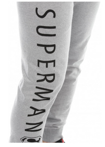 Superman: Summer Slim Fit Men's Fleece Grey Joggers - Badtamees