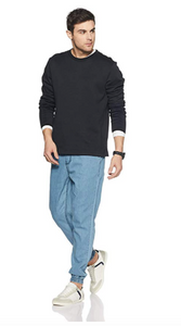 Men's Matte Blue Tech Stretch Premium Joggers Amaze Edition
