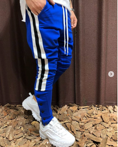 Blue With White Strips Slim Fit Jogger