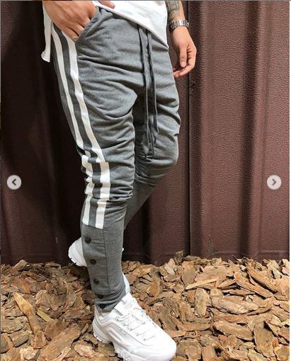 Grey With White Strips Slim Fit Jogger