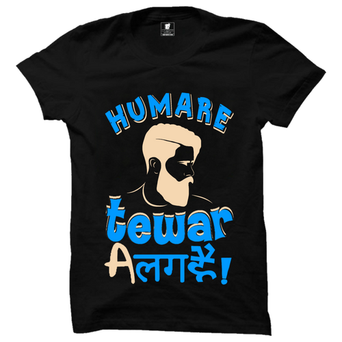 Hamare Tewar Alag Hain Cotton Black Half Sleeve T-Shirt